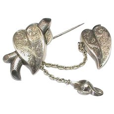 Antique early Victorian Large Sterling Silver Leaf & Chain Brooch