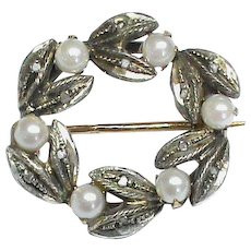 Antique Edwardian French 18ct Gold, Silver, Cultured Pearl & Diamond chip Brooch