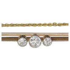 Antique Edwardian 15k 15ct Gold Platinum Diamond Brooch