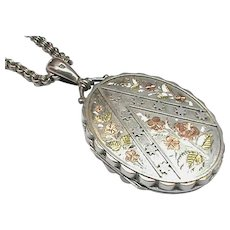 Antique Victorian 1882 Sterling Silver Locket with gold decor & Collar Chain