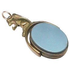Antique Victorian Squirrel Agate Swivel Seal Fob