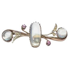 Antique Edwardian 9k 9ct Gold Moonstone & Seed Pearl Brooch