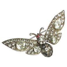 Stunning Large Antique Victorian Sterling Silver Paste Butterfly Brooch with garnet eyes in box