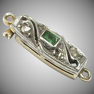 Art Deco 14k 14ct Gold Diamond & Emerald Clasp