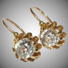 Antique Victorian c1900 18k 18ct Gold Paste Earrings