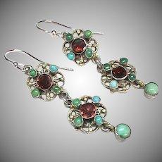 Antique Arts & Crafts Sterling Silver Turquoise Enamel & Garnet Earrings