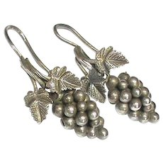 Antique Victorian Sterling Silver Grapes & Vine Leaves Earrings