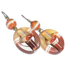 Antique Victorian Banded Agate Earrings