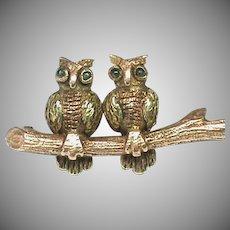 Antique Edwardian 9k 9ct Two-color Gold OWL Brooch