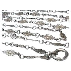 Antique French Art Nouveau Silver 800-900 Flower Long Guard Chain Necklace