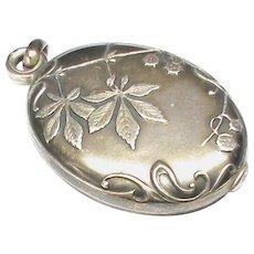 Antique French Art Nouveau Silver 800-900 Slide Mirror Locket Pendant