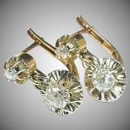 Vintage French 18k 18ct Gold 1/2 carat Diamond Earrings in box
