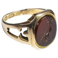 Antique Victorian 1868 15k 15ct Gold Agate Intaglio Family Crest Ring
