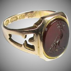 Antique Victorian 1868 15k 15ct Gold Agate Intaglio Family Crest Ring