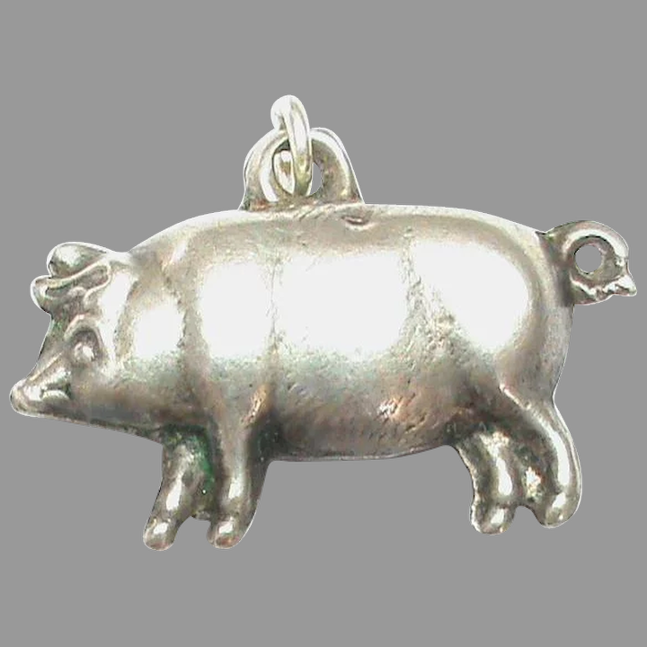 Sterling Silver Antiqued Pig Charm