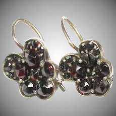 Antique Victorian c1900 Silver gilt Garnet PANSY Earrings