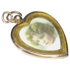 BIG Antique Edwardian Gold Filled Double Sided Heart Locket Pendant