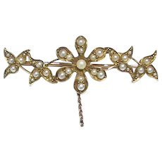 Antique Victorian 15k 15ct Gold Seed Pearl Flower Brooch