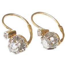 Antique Edwardian 18k 18ct Gold & Platinum rose cut Diamond Earrings