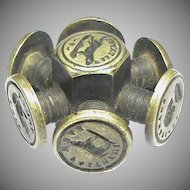 Antique 19th Century Intaglio Seal Wheel Dog Hand Heart Shakespeare Napoleon