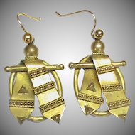 Antique Victorian gilt metal Ribbon Earrings