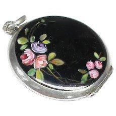 Antique Edwardian Sterling Silver Enamel Flower Locket Pendant