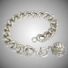 Small Antique Victorian French Silver 800-900 Curb Bracelet with ball charm