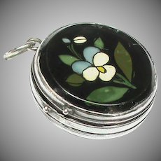 Antique Victorian French Silver 800-900 Pansy Locket Pendant