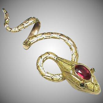 Antique Victorian 18k 18ct Gold Garnet Snake Pendant