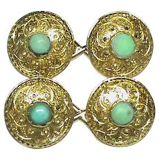Antique Victorian 15k 15ct Gold Turquoise Cufflinks