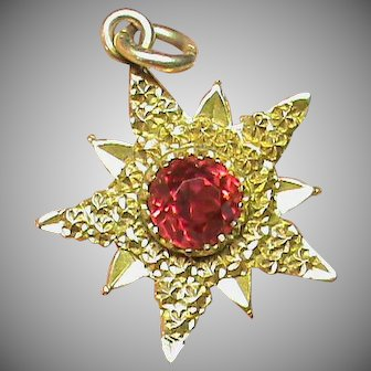 Antique Edwardian Chester 1901 Charles Horner 9k 9ct Gold Paste Star Charm