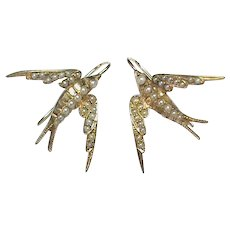LARGE Antique Victorian 15k 15ct Gold Seed Pearl SWALLOW Earrings
