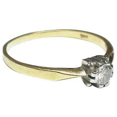 Vintage 18k 18ct Gold Diamond Solitaire Engagement Ring