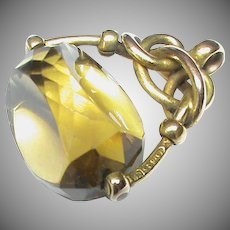 Antique Edwardian c1905 15k 15ct Gold Citrine Swivel Seal Pendant Fob