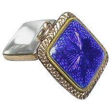 Antique Georgian Gold fill Blue Enamel Locket Pendant