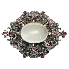 Huge Arts & Crafts Sterling Silver Moonstone & Almandine Garnet Brooch