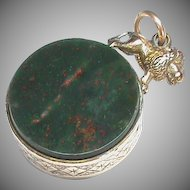 Large Antique Victorian Gold Filled LION Agate Seal Fob