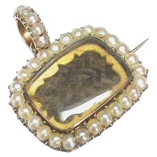 Antique Georgian 9k 9ct Rose Gold Natural Split Seed Pearl Mourning Locket Pendant / Brooch