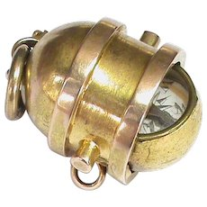 Antique Victorian 15k 15ct Gold Ships Lantern Swivel Compass Fob