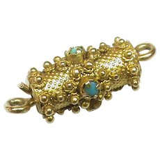 Antique Georgian 15k 15ct Gold Turquoise Barrel Clasp