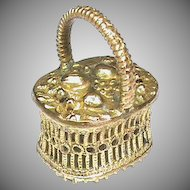 Antique Georgian Gilt Metal BASKET Seal MAY YOU BE HAPPY Intaglio