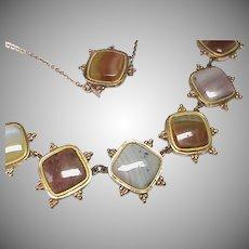 Antique Georgian gilt metal Agate Necklace