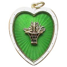 Antique Edwardian 9k 9ct Gold Enamel & rose cut Diamond HEART Pendant
