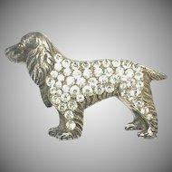 Art Deco Sterling Silver Paste DOG Brooch