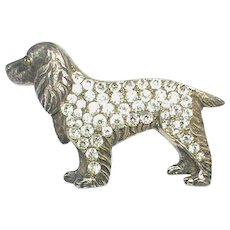 Art Deco Sterling Silver Paste DOG Brooch