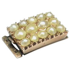 Antique Georgian 12k 12ct Gold Clasp with natural split pearls