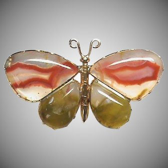 Antique Georgian 15k 15ct Gold Agate Butterfly Brooch