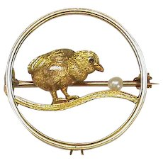Antique Edwardian 9k 9ct Gold Seed Pearl CHICK Brooch