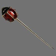 Vintage 18k 18ct Gold Enamel tiny Ladybird Pin