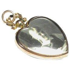 Antique Edwardian 1907 9k 9ct Gold Heart Double Sided Photo Locket Pendant